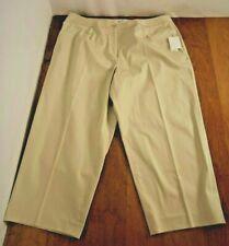 NWT Judith Hart Women's Straight leg Capri Pants Size 18W Beige Front Zip Pkts.