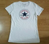 Converse All Star T Shirt Top Short Sleeves Ladies White Size M