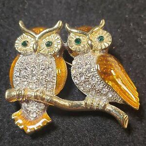 Vintage Rhinestone Crystal & Brown Enamel Perched Owl Brooch Gold Tone Bird Pin