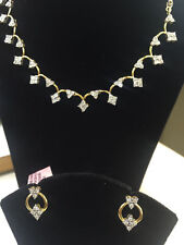 Pave 1.58 Cts Natural Diamonds Necklace Earrings Set In Solid Certified 14K Gold