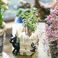 Creative Cartoon Black Cat White Fence Resin Cacti Succulent Flower Pot Planter