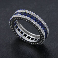 2.0ct Sapphire and Diamond Full Eternity Wedding Band Ring 14k White Gold Filled