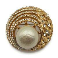 Vintage Jeanne Faux Pearl Crystal Rhinestone Openwork Brooch Scarf Lapel Pin