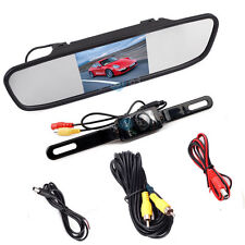 "4.3"" TFT LCD Monitor Mirror Car RearView Backup Camera Kit with 19.7ft RCA Cord"