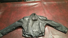 Wilsons Leather Black Cropped Motorcycle Belted Jacket Size M