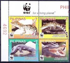 Philippines 2011 MNH 4v Blk Plate no, WWF, Crocodiles, Reptiles, Wildlife