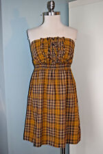 Maeve Anthropoloige yellow Mustard Plaid Strapless Dress XS Excellent pearland