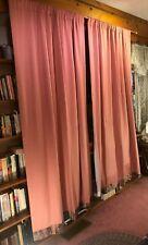 "Pair custom orange-y mauve satin weave cotton blend rod pocket 81""L lined drapes"