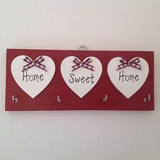 Key Holder Home Sweet Home Red