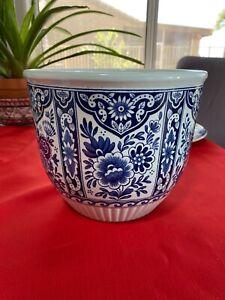 Large Royal Sphinx  Blue Delft Petrus Regout Maastricht Flower Pot Jardiniere