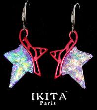 Luxus Ohrringe Ohrschmuck Ikita Paris Sterne Glas Emaille Bordeau Lichtreflex