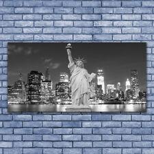 Wandbilder Glasbilder Druck auf Glas 140x70 Freiheitsstatue New York Gebäude