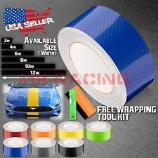 7D High Gloss Carbon Fiber Racing Stripes Vinyl Wrap Rally Sticker 10/25/50 Feet