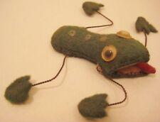 Old Bizarre Odd Magnetic Fabric Felt Frog w/Wire Legs & Google Eyes Toy