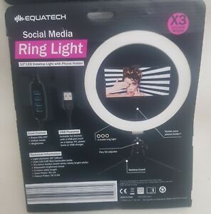 "10"" LED Ring Light 3 Mode Lighting DESK TOP Stand Phone Holder Selfie Blog"