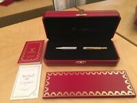 Authentic Cartier CHROMIUM FINISH GOLD PLATED ATTRIBUTES BALL POINT PEN