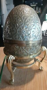 """RARE RUSSIAN IMPERIAL ANTIQUE ENAMELLED EGG brass 5"""" on stand"""