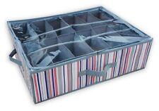 Striped 12 Pair Underbed KIDS Shoe Storage Box Fabric Wardrobe Store Organiser