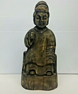 Old Southeast Asian Carved Wood Temple Figurine Statue 9 1/2''