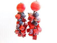 Ohrringe Ohrclips  Bronze, Edelsteine  Koralle und  Achat , von Catia Levy
