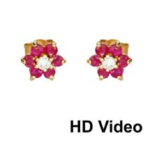 lovely  solid  Gold Stud Earrings 0.5 ct real Diamond and  Ruby