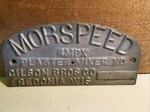 Vintage MORSPEED Logo Emblem Badge Sign Plaque Metal Nameplate Gilson Bros. Co.