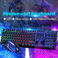Ultra-Thin Backlight Optical USB Wired Mouse + Keyboard Office Game