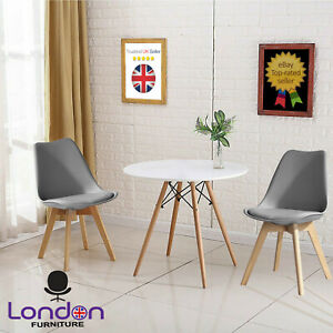 3 Piece Dining Set Plastic Grey Kitchen Furniture Dinner Table Chairs Padded UK
