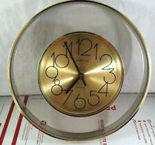 Vintage SPARTUS Wall Hanging Clock Retro Quartz Movement Round Gold Made in USA