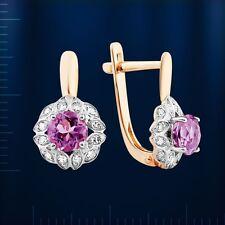 Russische Rose Rotgold 585 kleine Ohrringe Amethyst & Diamanten Earrings gold