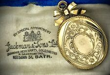 Victorien 14CT Médaillon Pendentif Deuil Charnière or Gravé Noeud Impeccable Mis