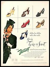 1948 Vitality Shoes Vintage PRINT AD Luxurious Woman Green Dress Colorful 1940s