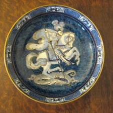 1920's LOSOL KEELING & Co BLUE & WHITE St. GEORGE & THE DRAGON GILDED LARGE BOWL