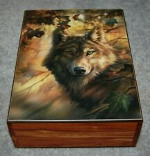 "#4168 TWILIGHT PROTECTORS WOLF/WOLVES KEEPSAKE JEWELRY WOOD CEDAR BOX 6"" X 8"""