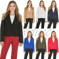 Womens Classic Basic Blazer Jacket Slim One Button Full Lining Long Sleeve