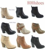 Women's Fashion Zipper Chunky High Heel Ankle Zip Booties Shoes Size 5.5 -11 NEW