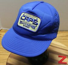 VINTAGE CAPS AUTO PARTS STORES BLUE SNAPBACK FOAM LINED IN GOOD CONDITION