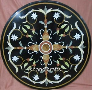 30 Inches Round Marble Kitchen Table Top Stone Coffee Table with Peitra Dura Art