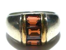 DESIGNER T&P STERLING SILVER & 14K GOLD RED STONE MODERN RING BAND SIZE 8.5