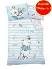 OFFICIAL WINNIE THE POOH SINGLE DUVET QUILT COVER SET BOYS GIRLS KID BLUE BED