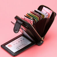 men's women's ID credit card wallet rfid blocking zipper leather cards holdM bc