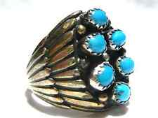 MENS LARGE NATIVE AMERICAN TURQUOISE STERLING SILVER BIKER SOUTHWESTERN RING