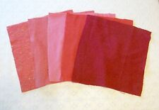Vintage Pink Red Solid Wool 15x15 Quilt Craft Squares Fabric Lot 5pcs
