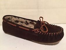 MINNETONKA 40522 BROWN SUEDE SLIP ON LOAFERS MOCS SHOES WOMENS SZ 7