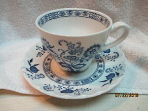 Blue Nordic Tea Cups (7) and Saucers (8) - England White