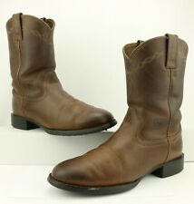 DISTRESSED Ariat MEN'S Brown Leather Heritage Roper Western Boots Size 8D US
