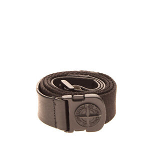 STONE ISLAND Leather & Canvas Belt Size 110 / 44 Adjustable Logo Made in Italy