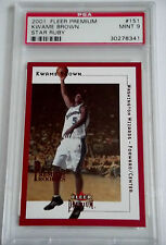 2001-02 Fleer Premium KWAME BROWN Star Ruby RC Rare SP #/50 Mint PSA 9