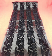 Victorian Mourning Antique Black Silk Voided Velvet Morning Glory Dress Fabric