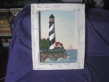 "VTG LIGHTHOUSE Nautical Theme Shadow Box Lighthouse Works with Sound 14 x 11"""